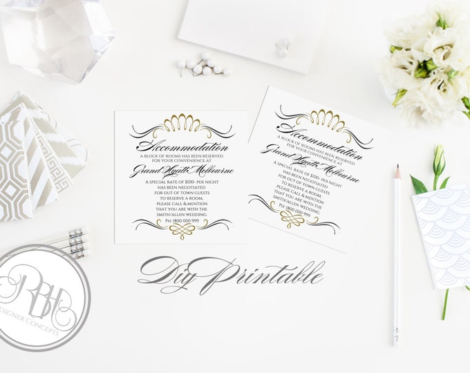 """Art Deco Information cards-INSTANT DOWNLOAD Template-Wedding- Editable Text Only-Art Deco Gold & Black DIY Printable - """"Anneliese"""""""