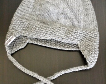 Hand Knit Gray Kitten Hat - Child - Ready to Ship