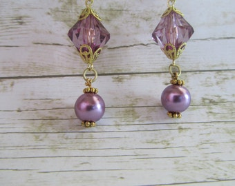 Purple Pearl Earrings, Purple Earrings, Bridesmaid Gifts, Mothers Day Gifts, Birthday Gifts Women, Earrings, Plum Earrings,Lavender Earrings