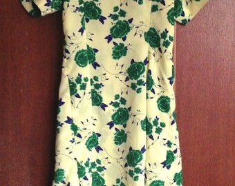 Vintage 1990s Handmade yellow green floral print Summer Tea Garden child's Dress flower pattern 1940s girls style Age 7 8 9 10 years