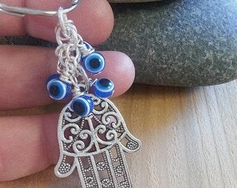 Hamsa Fatima Keychain, Evil Eye Keychain, FREE US SHIPPING!,Yoga Protection Bag Charm; Item: ky-hams-30f