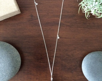 smoky quartz asymmetrical sterling silver necklace / meoMADE
