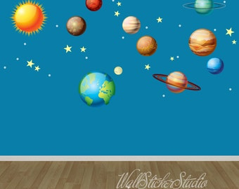 Solar System Wall Decals, Space Wall Decal Stickers, REUSABLE FABRIC DECAL