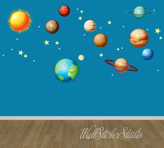 Solar System Wall Decals Space Wall Decal Stickers REUSABLE