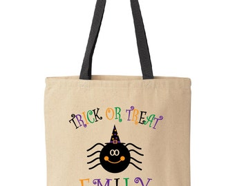 Personalized Halloween treat bag.  Tote bag for trick-or-treat.  Halloween bag.  Halloween bucket. Happy spider tote by Pink Pig Printing.