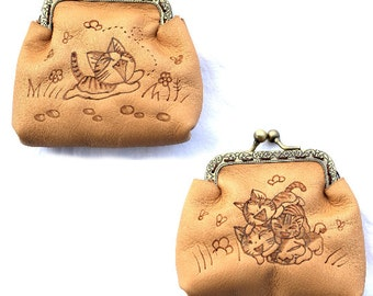 Leather purses pyrography Chii Sweet Home