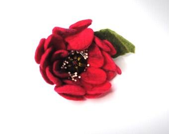 Red Poppy Felt Flower Dual Brooch Hairclip Hand Felted Merino Wool