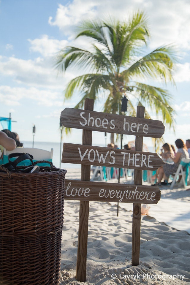 Rustic Beach Wedding Decor Shoes Here Vows There Love Everywhere Wooden Signage For Ceremony Directional Sign