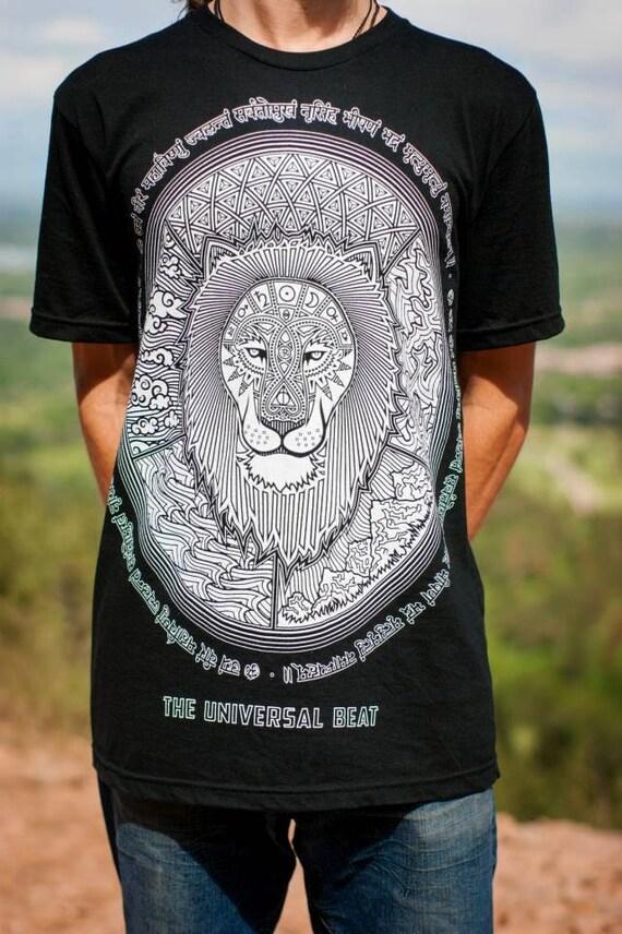 Lion T-Shirt—Organic USA Made, Sacred Geometry T-Shirt, Mandala T-Shirt, Lion Shirt, Sanskrit t-shirt, King t-shirt, Mens