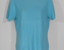 Vintage turquoise blue mock turtleneck sweater by Requirements 1980s 80s aqua tone mod valley girl secretary bombshell pullover Small