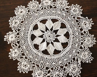 "Small Ecru 7"" Round One of a Kind Crocheted doily"