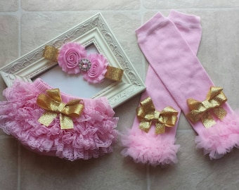 SALE Pink and Gold Headband, Lace Bloomers, & Leg Warmers Set, birthday, flower girl, cake smash  infant, newborn, toddler