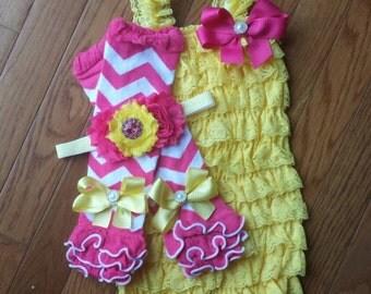 Pink Lemonade Yellow & Hot Pink Petti Lace Romper,Headband and Leg Warmer set,Birthday, cake smash, Spring, flower girl,infant,toddler