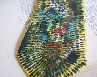 Morse Code hand-painted necktie