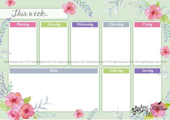 Printable weekly planner, desk planner, digital handpainted ...
