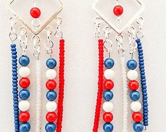 0780+ - 4th of July earrings, Memorial Day, Flag Day, red white blue earrings, patriotic earrings, patriotic jewelry, red white blue