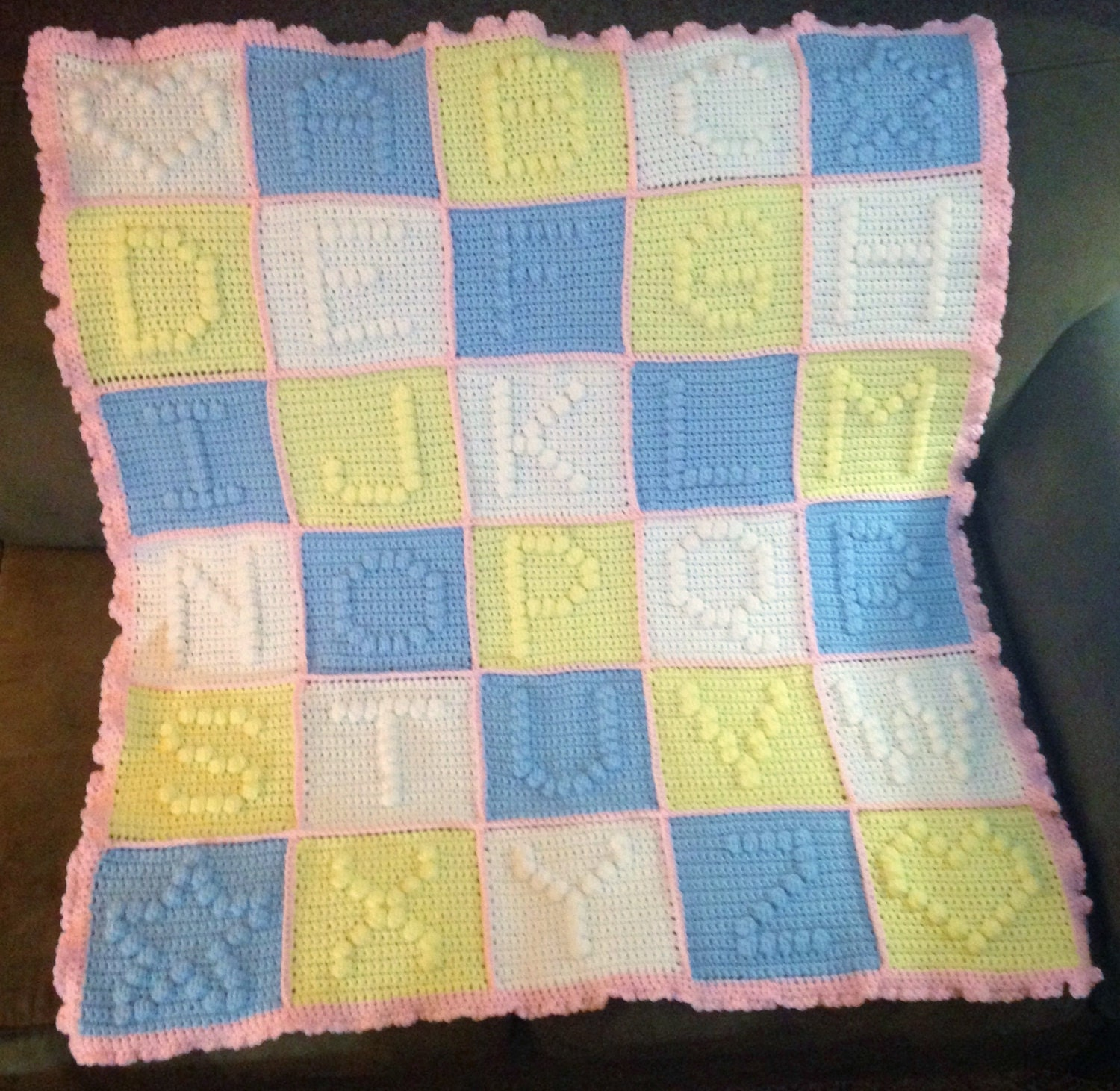 Crochet Pattern For Abc Baby Blanket : Alphabet Baby Blanket // Crochet ABC Blanket // by HMKHandmade