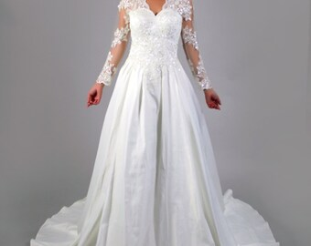 Classic Long Sleeves lace applique deep V neck, Gorgeous Back Design A line White Satin Wedding Dress, Bridal Gown