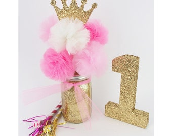 Hand Glittered Gold Mason Jar Tulle Pom Pom Princess Centerpiece! Customize your Colors!