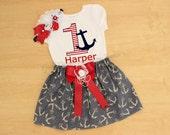 Nautical Onesie Set, Marine Onesie, Nautical Birthday Outfit, Baby Girl Monthly Onesie Set, Personalized Shirt, Personalized Onesie, Skirts