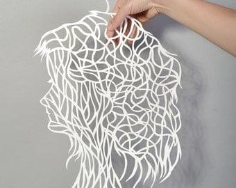 Paper cutting art Woman silhouette, hand cut out original artwork. 2015
