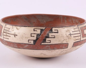 Native American Historic Zuni Polychrome Pottery Bowl Circa 1900, #830