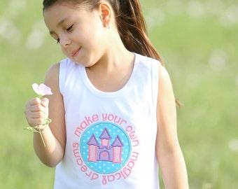 Girls Princess Castle Shirt-Magical Dreams-Personalized-Princess Shirt-Castle-Toddler Shirt-Pink Castle Shirt-Disney Castle Shirt-