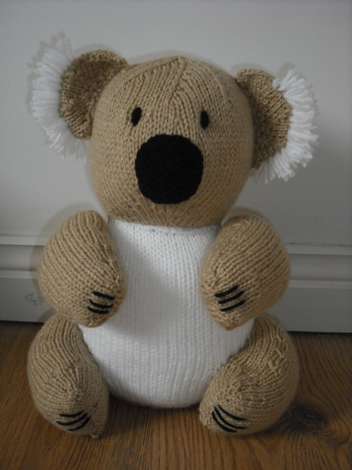 Koala Bear Hand Knitted Toy made from a Sarah Keen pattern.