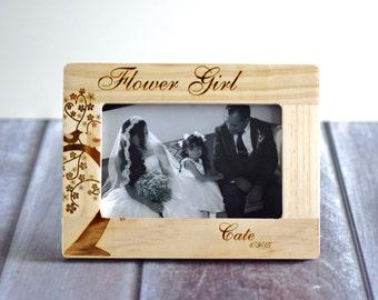 Flower Girl Picture Frame, Gift for Flower Girl, Flower Girl Thank You gift, Rustic Wedding Frame, Rustic Flower Girl Frame, Personalized