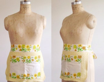 Yellow half apron- Floral half apron- Womens half aprons- Custom apron- Vintage apron- Womens accessories- Gift for her