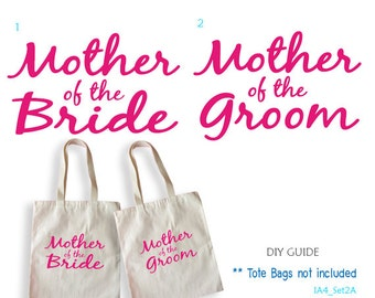 Set of 2 , Mother of the Bride x 1,Mother of the Groom x 1 ,iron on transfers