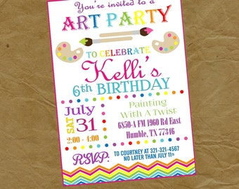 Paint Birthday Party Invitation - Digital or Printed