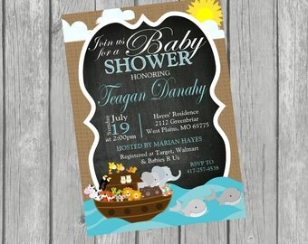 NOAH'S ARK Baby Shower Chalkboard Invitation - Digital or Printed