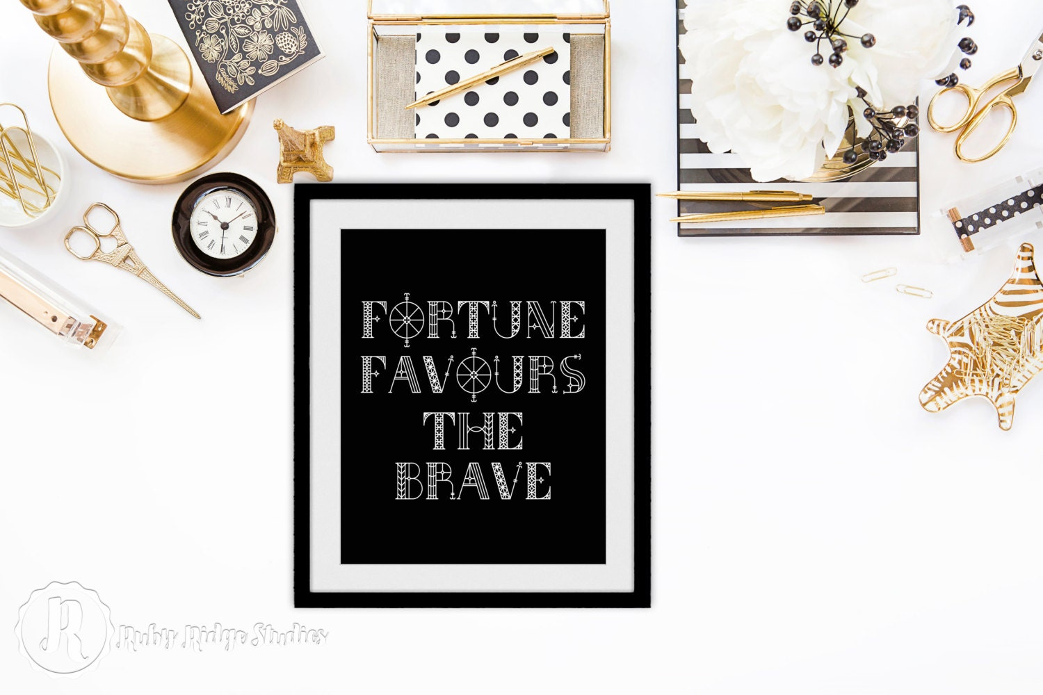 Typographic Quote Wall Art Fortune Favours The By