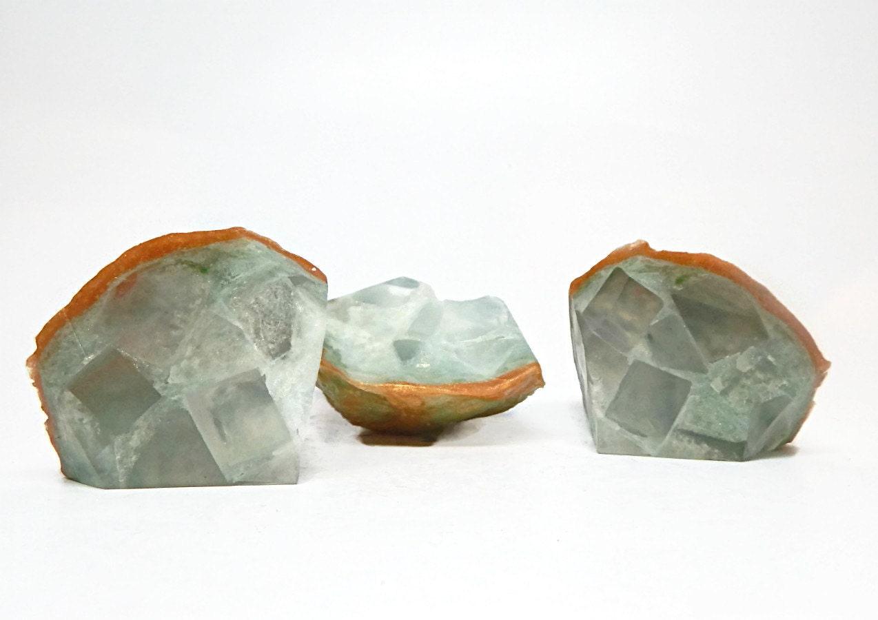 Green Amethyst Geode : Green amethyst geode shaped soap set