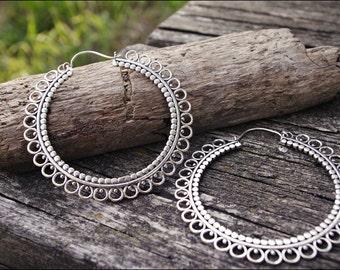 Earrings silver. Tribal jewelry. Boho hoop earrings.
