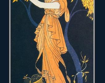 Robert Dammy fashion illustration coral ball gown taffeta silk Journal des Dames et des Modes 1914