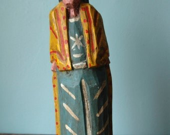 Vintage Wooden Figure Figurine Handmade & Hand Painted Made In Guatemala Deity Traditional Clothing Folk Art