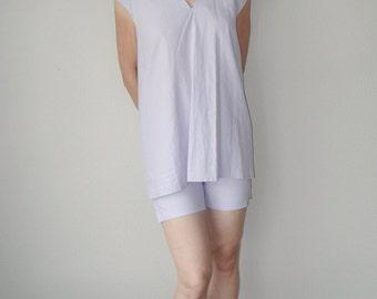 Pajamas,Linen pure, flax Linergie Sleepwear Homewear Summer purple lilac Shorts Top Women Bohemian Wedding pyjamas night suit slumber-suit
