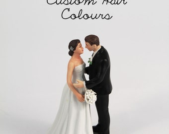 Vintage Inspired Bride And Groom Wedding Cake Topper -  Porcelain Wedding Cake Topper - Bride and Groom - Custom - Personalize - Retro