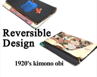 Reversible Clutch Handbag Handmade from 1920s High Grade 'Kinran'Kimono Obi Silk/All Silk Bag/UMEtokyo