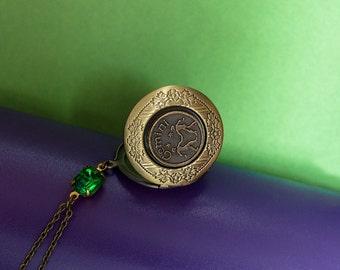 Birthstone Locket Astrological Locket Antique Brass Locket Necklace Birthstone Astrological Zodiac Secret Locket Gemini Locket Gift for Her