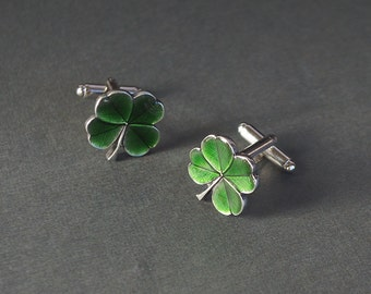 Shamrock Cufflinks Four Leaf Clover Shamrock Notre Dame Fighting Irish Shamrock Gifts St Patrick's Day Gifts for Him Men's Gifts