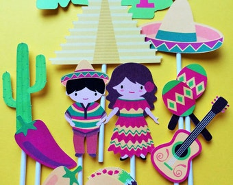 10 Mexican theme party cupcake toppers, Mexico, Hola Mexico, Birthday cupcake toppers Mexico, Mexican cupcake toppers
