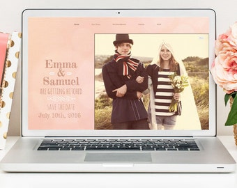 Wedding Website, Wedding Website Template, Hipster Wedding Website, Pink Wedding Website