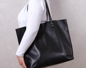 Black Leather Tote Bag - BIG MAMA Large, Handmade Leather Tote