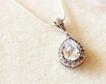 Bridal Necklace Wedding Necklace Bridesmaid Gift Necklace Cubic Zirconia Crystal Necklace Wedding Gift For Bridemaids Bridal Jewelry