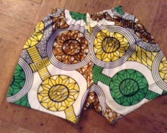 African Print Summer Shorts 9 -12 ears old Hand Made Cotton Elasticated Waist and Side Pockets
