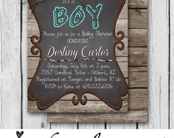 IT'S A BOY Invitation, Rustic, Blue, Wood, Twine, Chalkboard, Rope, Country, Western - Bridal Shower / Baby Shower - Digital and Printed
