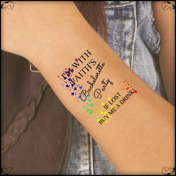 temporary tattoo 7 lgbt rainbow bachelorette party lesbian. Black Bedroom Furniture Sets. Home Design Ideas